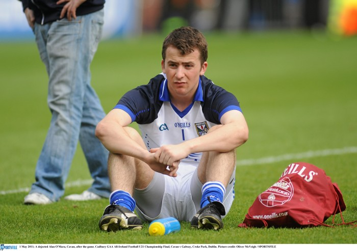 1 May 2011; A dejected Alan O'Mara, Cavan, after the game. Cadbury GAA All-Ireland Football U21 Championship Final, Cavan v Galway, Croke Park, Dublin. Picture credit: Oliver McVeigh / SPORTSFILE